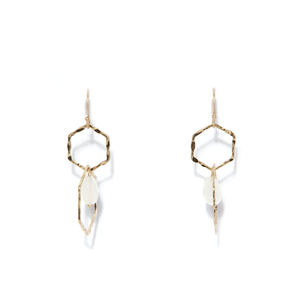 Envy Double Hexagon Gold Earrings
