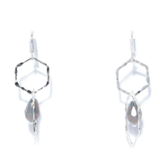 Envy Double Hexagon Silver Earrings