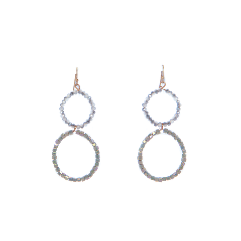 Envy Beaded Earrings - smokey grey