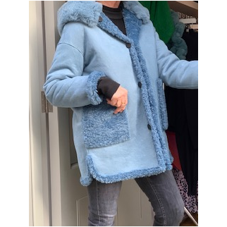 Reversible oversized Hooded Jacket - Tiffany Blue were £179 NOW £89