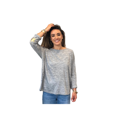 Long Sleeved Tee - Grey Marl with Gold Elbow Patch