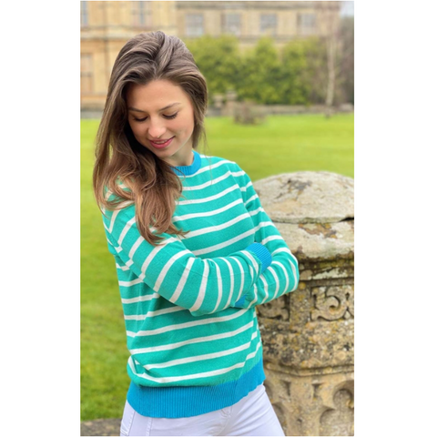 Luella Ladies Sweater - Brittany. Green/Turquoise - Cotton