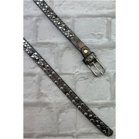 Luella Pewter Studded Slim Belt