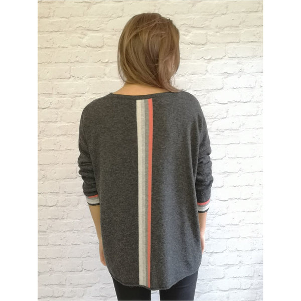 Luella Cashmere Mix Sofia Sweater - 2 colours available, Orange and Graphite