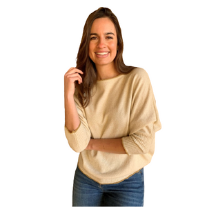 Luella Bree Cashmere Mix Sweater - Ivory/Gold