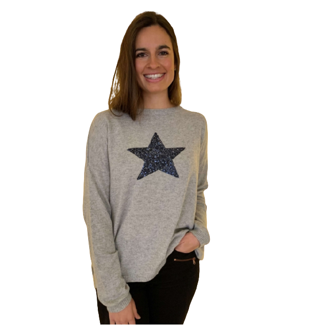 Luella Cashmere Mix Sequin Star Jumper - Silver/Navy