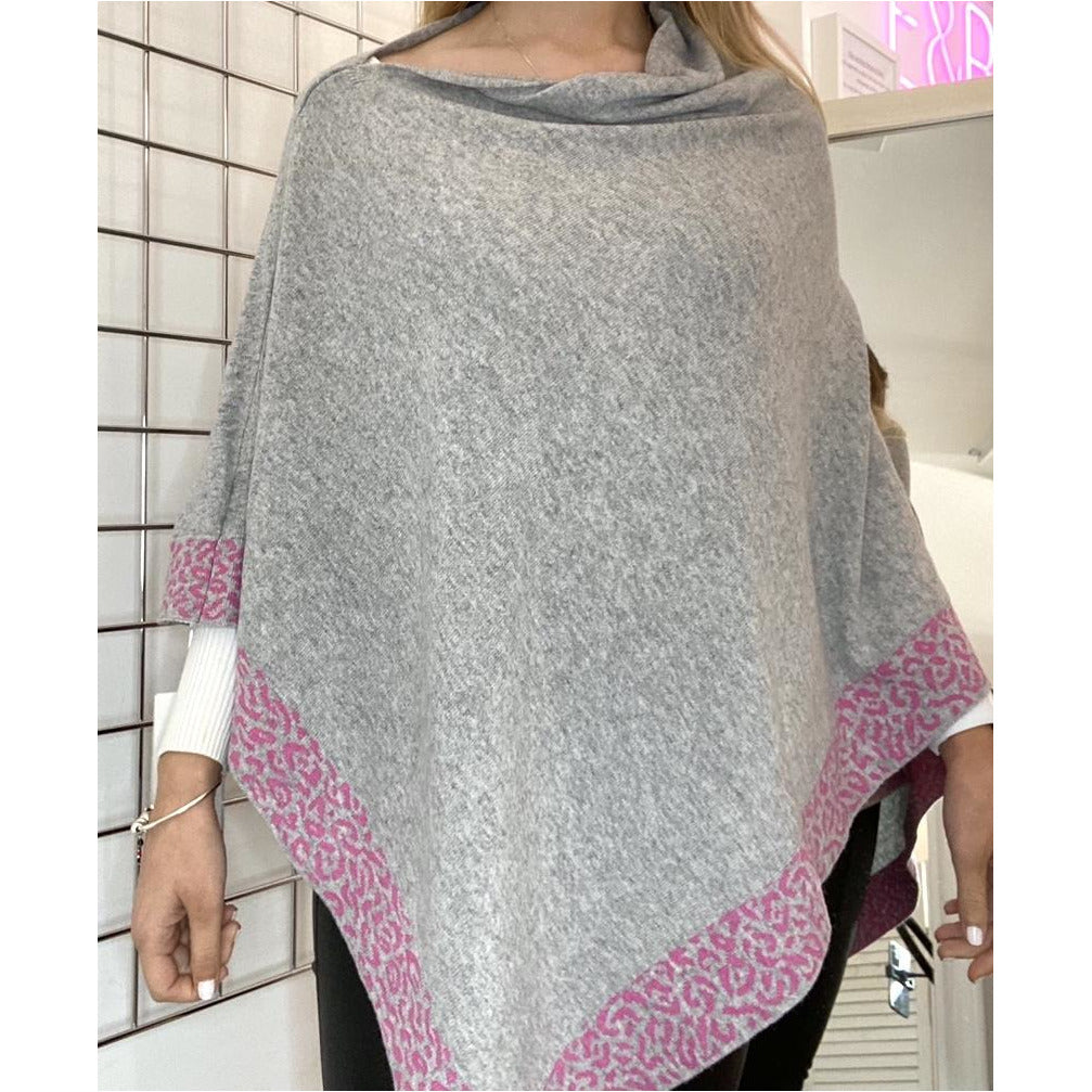 Ellie & Bea Ladies Poncho - Cashmere Mix. Grey with fuchsia Leo Print Edge.