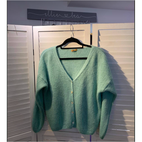 Ellie and Bea V Neck Mohair Cardigan - Spearmint