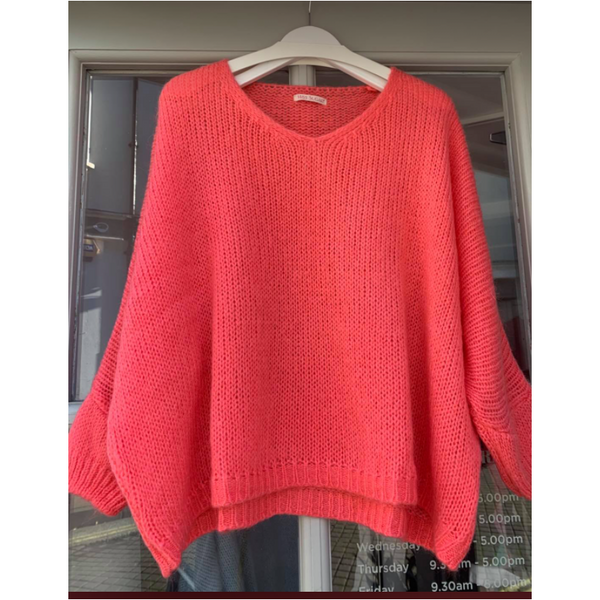 Ellie and Bea Ladies V Neck Oversized Jumper