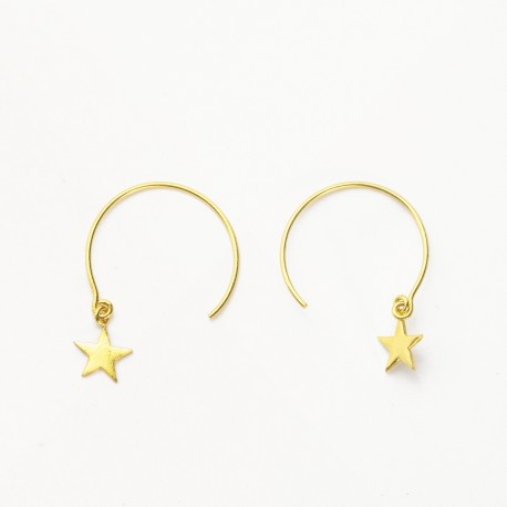 Gold Star Hoop through Earrings