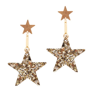 Gold Sparkle Star Earrings