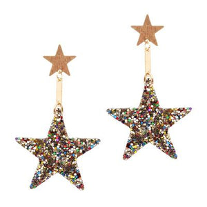 Multi Coloured Sparkle Star Earrings