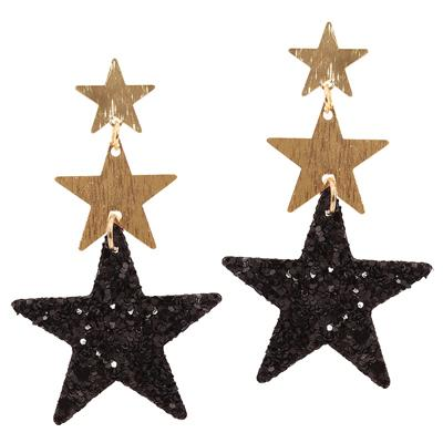 Black Triple Sparkle Star Earrings