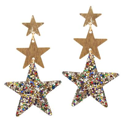 Multi Coloured Triple Sparkle Star Earrings
