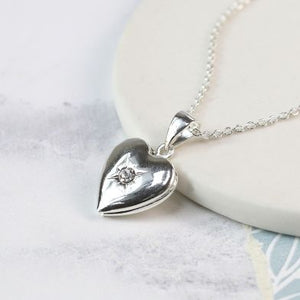 Silver Plated Heart Locket with Crystal Center