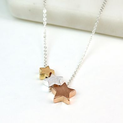 TripleStar Necklace in Mixed Brush Finish