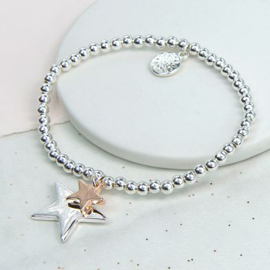 Silver Plated And Rose Gold Double Star Bracelet