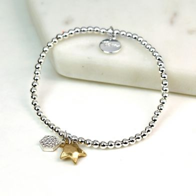 Silver Plated Crystal Hexagon Gold Star Bracelet