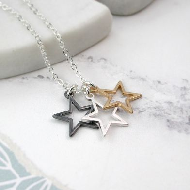 Open Star Triple Pendant Necklace in Mixed Brush Finish