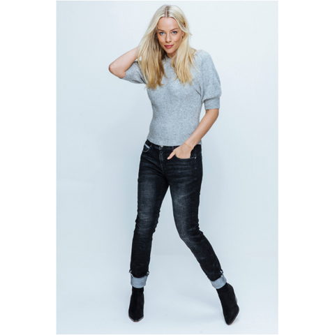 Red Button Ladies Jeans - Lulu Dark Stone (Black) Turn-Up Jeans