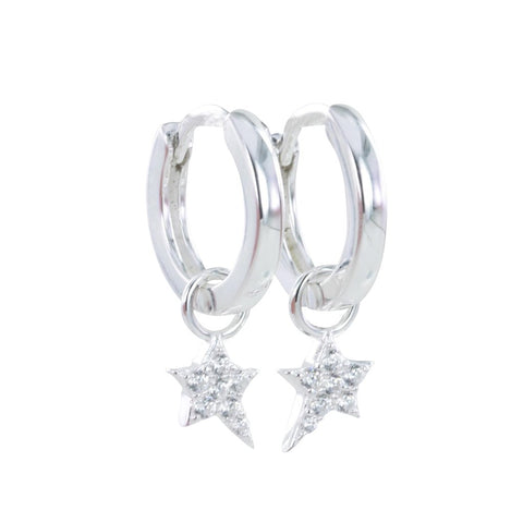 Pave Star Charm Hoops