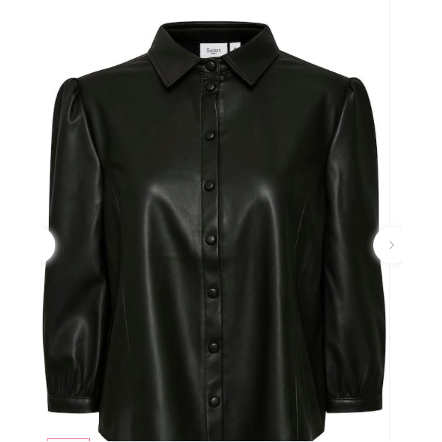 Saint Tropez Long Sleeved PU Shirt -Black