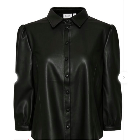 Saint Tropez Ladies Long Sleeved PU Shirt -Black