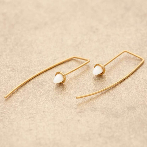 Gold Opal Bullet Bar Threader Earrings