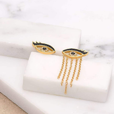 Gold Mis-Matched Crying Eyes Stud Earrings
