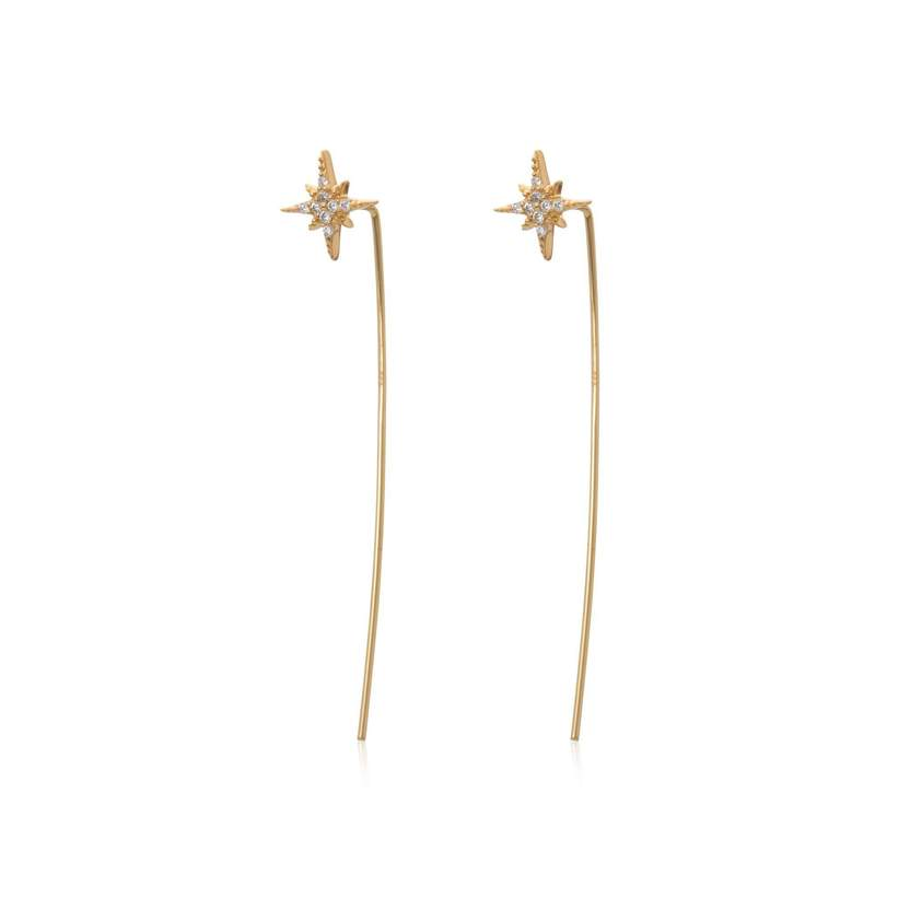 Gold Starburst Threader Bar Earrings