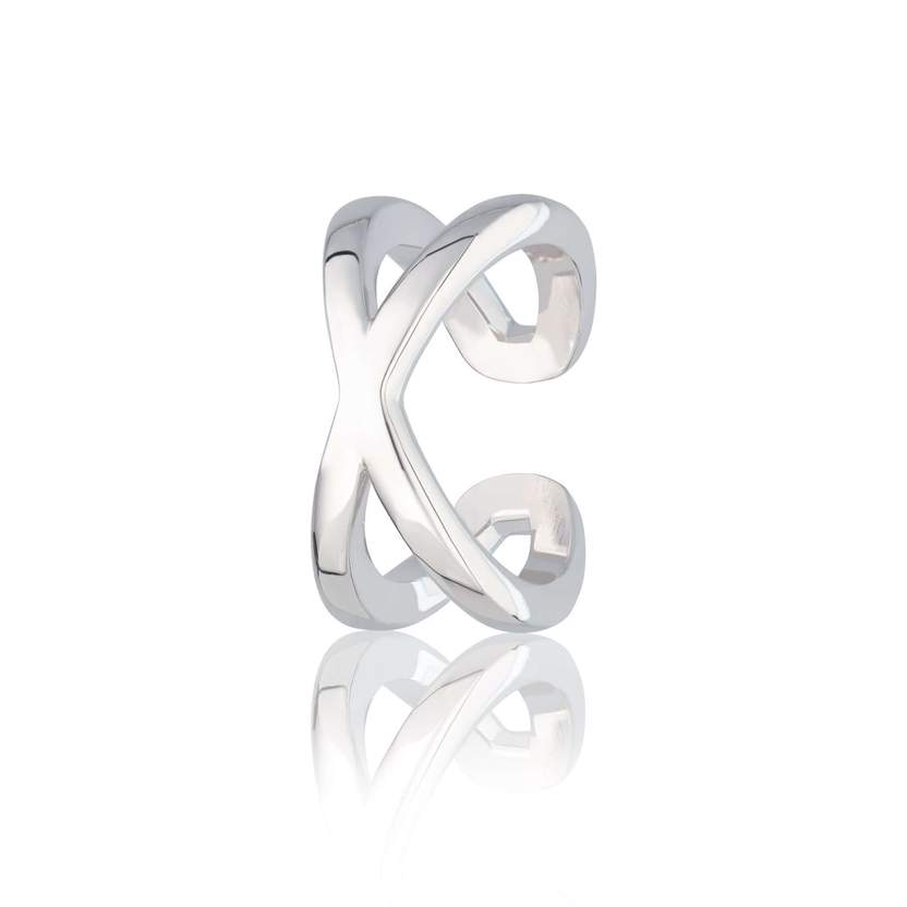 Silver Crossover Single Ear Cuff