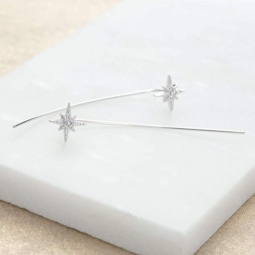 Silver Starburst Threader Bar Earrings