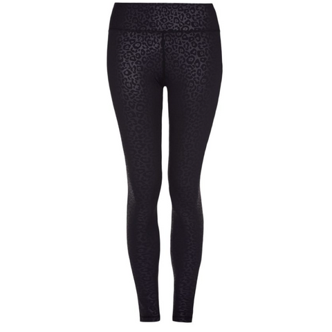 Higher Waisted Sports Luxe Leggings - Black Leopard