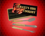 3-Piece BBQ Set in Wooden Pine Box with Personalized Lid custom with photo and text