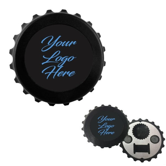 Custom Black Magnetic Bottle-Cap Shaped Bottle Opener personalized photo and text