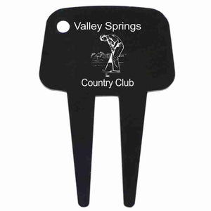 Black Golf Divot Tool with hole