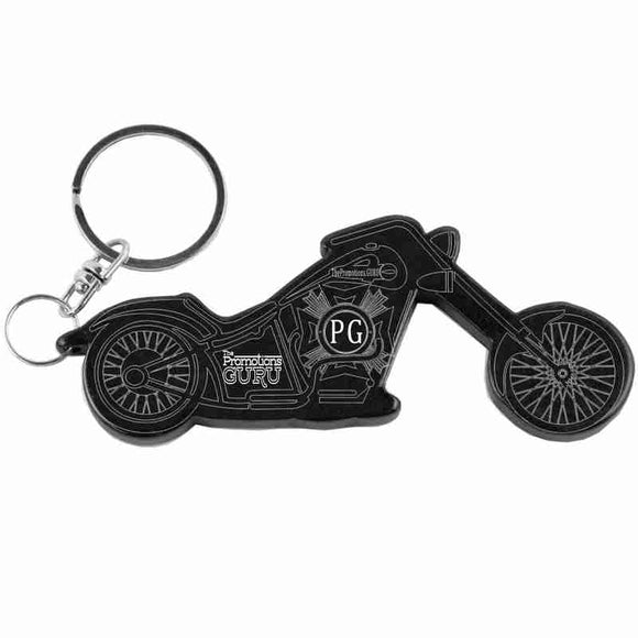 Black Motorcycle Shaped Anodized Aluminum Key Chain Bottle Opener with Laser Engraved Custom Logo Personalized