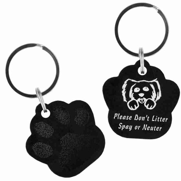 Black Paw Shaped Anodized Aluminum Key Chain with Laser Engraved Custom Logo Personalized