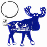 Blue Moose Shaped Anodized Aluminum Key Chain Bottle Opener with Laser Engraved Custom Logo Personalized