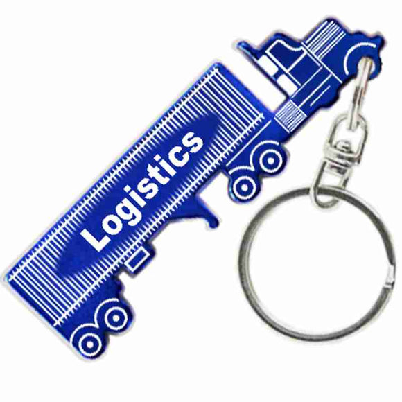 Blue Semi Truck Tractor and Trailer Shaped Anodized Aluminum Key Chain with Laser Engraved Custom Logo Personalized