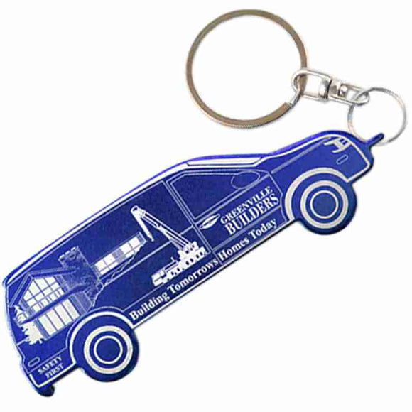 Blue Van Shaped Anodized Aluminum Key Chain Bottle Opener with Laser Engraved Custom Logo Personalized
