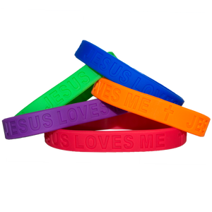Light Jesus Loves Me Wristband 5 Pack Pastel Colors