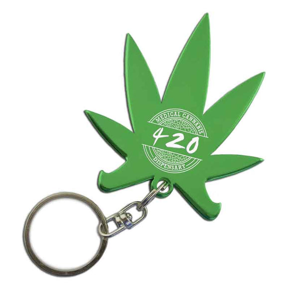 Green Cannabis pot leaf Shaped Anodized Aluminum Key Chain with Laser Engraved Custom Logo Personalized medicinal hemp