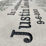 Close Up Detail of Sandblasted Patio Bench Letters