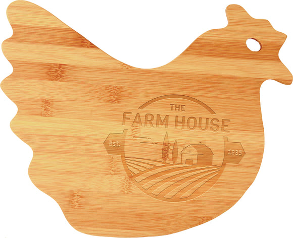 Bamboo hen chicken custom shaped cutting board laser engraved personalized text kitchen accessory house warming closing gift