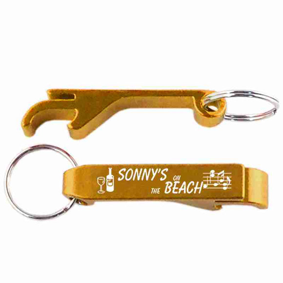 Gold Key Chain Bottle and Can Opener anodozide aluminum laser engraved custom logo personalized