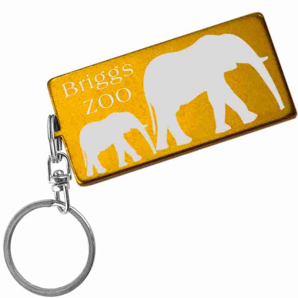 Gold Rectangle Shaped Anodized Aluminum Key Chain with Laser Engraved Custom Logo Personalized