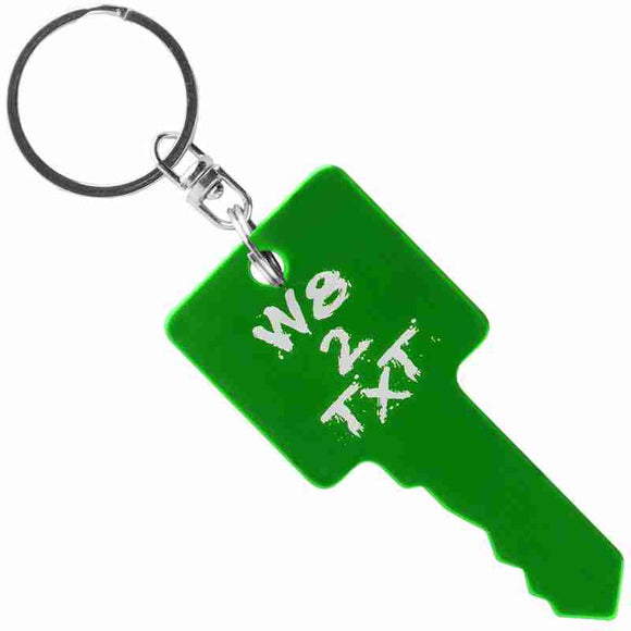 Green Key Shaped Anodized Aluminum Key Chain with Laser Engraved Custom Logo Personalized