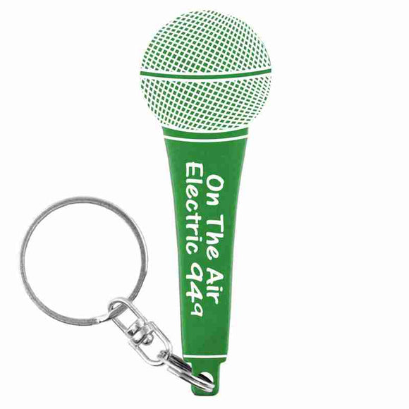 Green Microphone Shaped Anodized Aluminum Key Chain with Laser Engraved Custom Logo Personalized