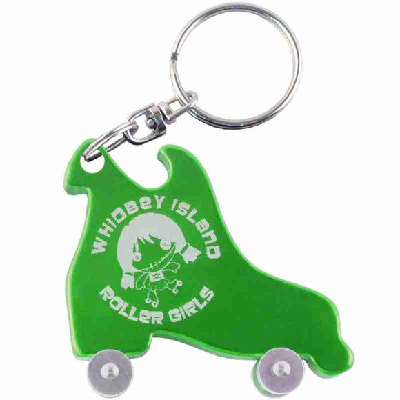 Green Rollerskate Anodized Aluminum Key Chain Bottle Opener with Laser Engraved Custom Logo Personalized